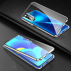 Luxury Aluminum Metal Frame Mirror Cover Case 360 Degrees for Huawei P40 Lite 5G Silver