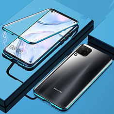 Luxury Aluminum Metal Frame Mirror Cover Case 360 Degrees for Huawei P40 Lite Blue