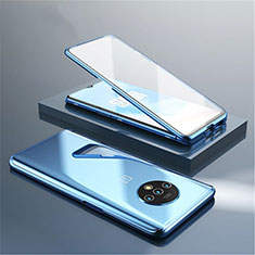 Luxury Aluminum Metal Frame Mirror Cover Case 360 Degrees for OnePlus 7T Blue