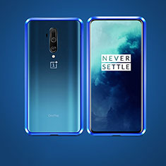 Luxury Aluminum Metal Frame Mirror Cover Case 360 Degrees for OnePlus 7T Pro 5G Blue
