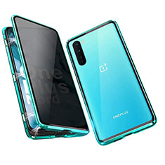Luxury Aluminum Metal Frame Mirror Cover Case 360 Degrees for OnePlus Nord Green
