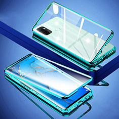 Luxury Aluminum Metal Frame Mirror Cover Case 360 Degrees for Oppo A32 Green