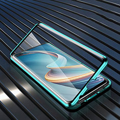 Luxury Aluminum Metal Frame Mirror Cover Case 360 Degrees for Oppo A92s 5G Green