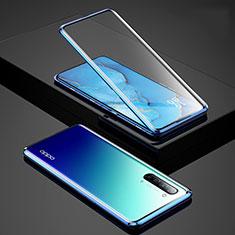 Luxury Aluminum Metal Frame Mirror Cover Case 360 Degrees for Oppo Find X2 Lite Blue