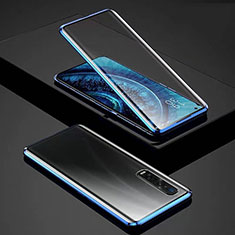 Luxury Aluminum Metal Frame Mirror Cover Case 360 Degrees for Oppo Find X2 Pro Blue