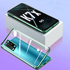 Luxury Aluminum Metal Frame Mirror Cover Case 360 Degrees for Oppo K7x 5G Green