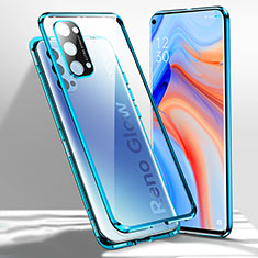 Luxury Aluminum Metal Frame Mirror Cover Case 360 Degrees for Oppo Reno4 5G Blue