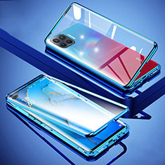 Luxury Aluminum Metal Frame Mirror Cover Case 360 Degrees for Oppo Reno4 F Blue