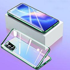 Luxury Aluminum Metal Frame Mirror Cover Case 360 Degrees for Oppo Reno5 5G Green