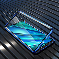 Luxury Aluminum Metal Frame Mirror Cover Case 360 Degrees for Realme 5i Blue