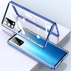 Luxury Aluminum Metal Frame Mirror Cover Case 360 Degrees for Realme X7 5G Blue