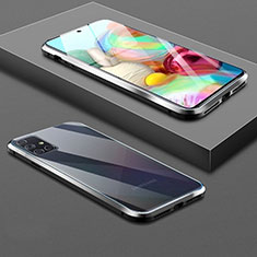 Luxury Aluminum Metal Frame Mirror Cover Case 360 Degrees for Samsung Galaxy A71 5G Black