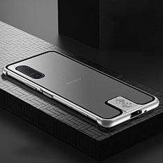 Luxury Aluminum Metal Frame Mirror Cover Case 360 Degrees for Sony Xperia 5 II Silver