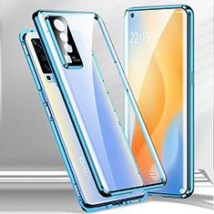 Luxury Aluminum Metal Frame Mirror Cover Case 360 Degrees for Vivo X50 5G Blue