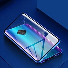 Luxury Aluminum Metal Frame Mirror Cover Case 360 Degrees for Vivo X50 Lite Blue