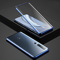 Luxury Aluminum Metal Frame Mirror Cover Case 360 Degrees for Xiaomi Mi 10 Pro Blue