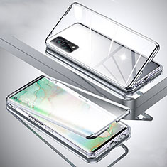 Luxury Aluminum Metal Frame Mirror Cover Case 360 Degrees for Xiaomi Mi 10T Pro 5G Silver