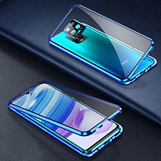 Luxury Aluminum Metal Frame Mirror Cover Case 360 Degrees for Xiaomi Redmi 10X Pro 5G Blue