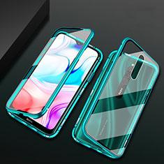 Luxury Aluminum Metal Frame Mirror Cover Case 360 Degrees for Xiaomi Redmi 8 Green