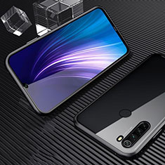 Luxury Aluminum Metal Frame Mirror Cover Case 360 Degrees for Xiaomi Redmi Note 8 Black