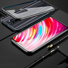 Luxury Aluminum Metal Frame Mirror Cover Case 360 Degrees for Xiaomi Redmi Note 8 Pro Black