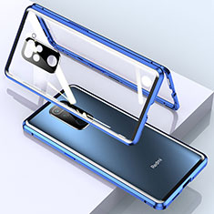 Luxury Aluminum Metal Frame Mirror Cover Case 360 Degrees for Xiaomi Redmi Note 9 Blue