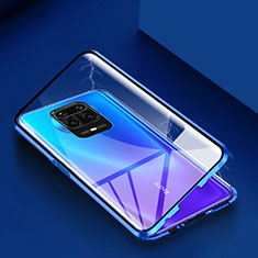 Luxury Aluminum Metal Frame Mirror Cover Case 360 Degrees for Xiaomi Redmi Note 9 Pro Blue