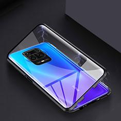 Luxury Aluminum Metal Frame Mirror Cover Case 360 Degrees for Xiaomi Redmi Note 9 Pro Max Black