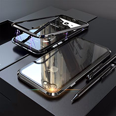 Luxury Aluminum Metal Frame Mirror Cover Case 360 Degrees M01 for Apple iPhone SE (2020) Black