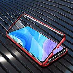 Luxury Aluminum Metal Frame Mirror Cover Case 360 Degrees M01 for Huawei Enjoy 10 Plus Red