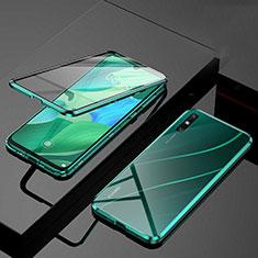 Luxury Aluminum Metal Frame Mirror Cover Case 360 Degrees M01 for Huawei Enjoy 10e Green