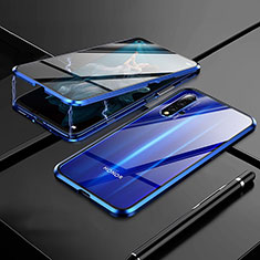 Luxury Aluminum Metal Frame Mirror Cover Case 360 Degrees M01 for Huawei Honor 20 Blue