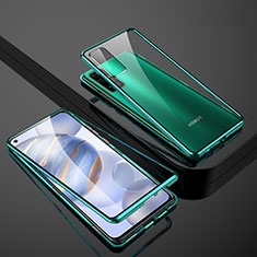 Luxury Aluminum Metal Frame Mirror Cover Case 360 Degrees M01 for Huawei Honor 30 Green