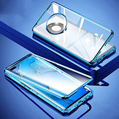 Luxury Aluminum Metal Frame Mirror Cover Case 360 Degrees M01 for Huawei Mate 40 Pro Blue