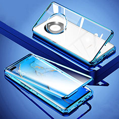 Luxury Aluminum Metal Frame Mirror Cover Case 360 Degrees M01 for Huawei Mate 40 Pro+ Plus Blue