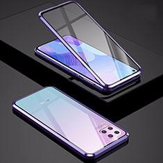 Luxury Aluminum Metal Frame Mirror Cover Case 360 Degrees M01 for Huawei Nova 7i Purple