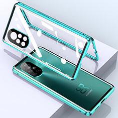 Luxury Aluminum Metal Frame Mirror Cover Case 360 Degrees M01 for Huawei Nova 8 5G Cyan