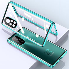 Luxury Aluminum Metal Frame Mirror Cover Case 360 Degrees M01 for Huawei Nova 8 Pro 5G Cyan