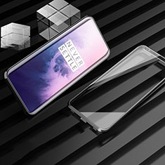 Luxury Aluminum Metal Frame Mirror Cover Case 360 Degrees M01 for OnePlus 7T Pro 5G Black