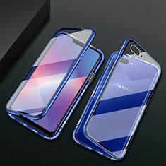 Luxury Aluminum Metal Frame Mirror Cover Case 360 Degrees M01 for Oppo A12e Blue