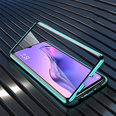 Luxury Aluminum Metal Frame Mirror Cover Case 360 Degrees M01 for Oppo A31 Green