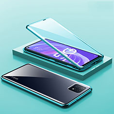 Luxury Aluminum Metal Frame Mirror Cover Case 360 Degrees M01 for Oppo A73 5G Green