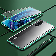 Luxury Aluminum Metal Frame Mirror Cover Case 360 Degrees M01 for Oppo Find X2 Green