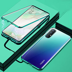 Luxury Aluminum Metal Frame Mirror Cover Case 360 Degrees M01 for Oppo Find X2 Neo Green