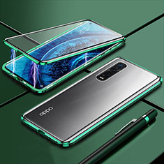 Luxury Aluminum Metal Frame Mirror Cover Case 360 Degrees M01 for Oppo Find X2 Pro Green