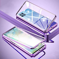 Luxury Aluminum Metal Frame Mirror Cover Case 360 Degrees M01 for Oppo Reno4 SE 5G Purple