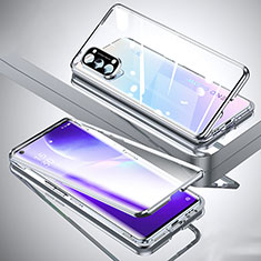 Luxury Aluminum Metal Frame Mirror Cover Case 360 Degrees M01 for Oppo Reno5 Pro 5G Silver
