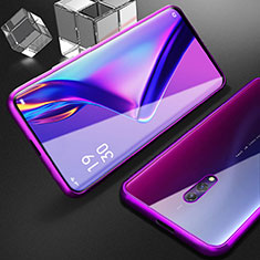 Luxury Aluminum Metal Frame Mirror Cover Case 360 Degrees M01 for Realme X Purple