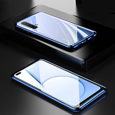 Luxury Aluminum Metal Frame Mirror Cover Case 360 Degrees M01 for Realme X50m 5G Blue