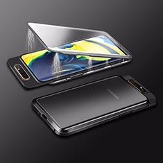 Luxury Aluminum Metal Frame Mirror Cover Case 360 Degrees M01 for Samsung Galaxy A80 Black